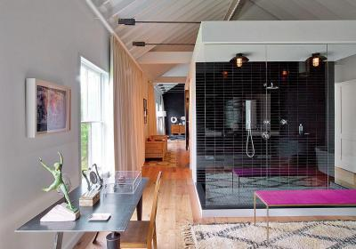 Csendélet a fürdőben - tetőtér ötlet, modern stílusban