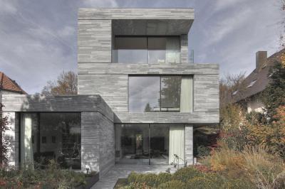Ház Münchenben - homlokzat ötlet, modern stílusban