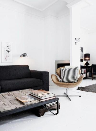 Fa dohányzóasztal - nappali ötlet, modern stílusban