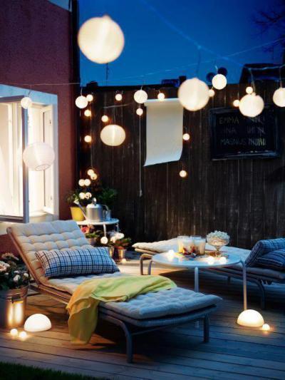 Lámpásokkal övezve - erkély / terasz ötlet, modern stílusban