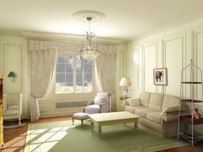Krém színű nappali - nappali ötlet, klasszikus stílusban