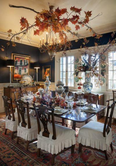 Őszi falevelek a plafonon - konyha / étkező ötlet, klasszikus stílusban