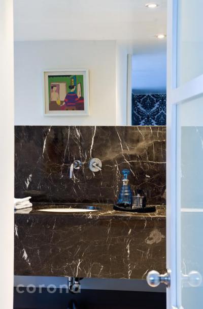 Fekete Márvány - fürdő / WC ötlet, modern stílusban