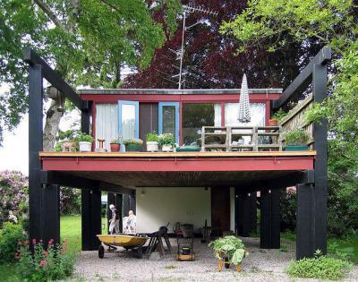 2 szintes ház az erdőben - homlokzat ötlet, modern stílusban