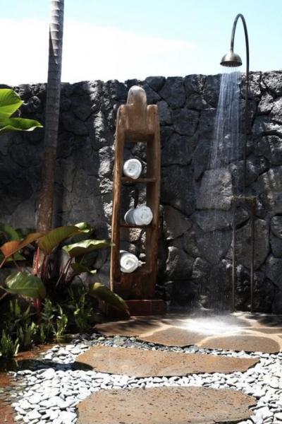 Kerti zuhany - kert / udvar ötlet, rusztikus stílusban