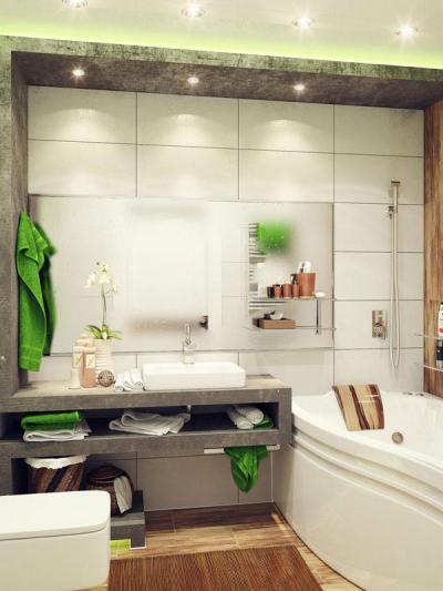 Zöldes hangulat - fürdő / WC ötlet, modern stílusban
