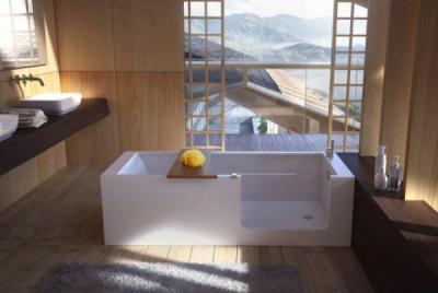 Fürdőszoba kilátással  - fürdő / WC ötlet, modern stílusban