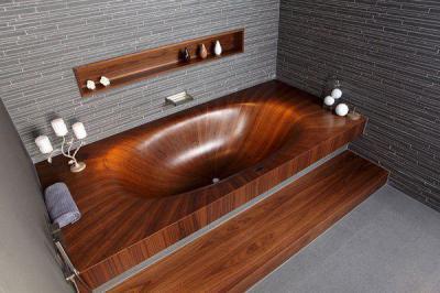 Fa kád - fürdő / WC ötlet