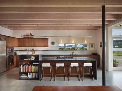 Látszógerendák a konyhában - konyha / étkező ötlet, modern stílusban