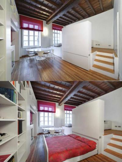 Helytakarékos ágy - nappali ötlet, modern stílusban