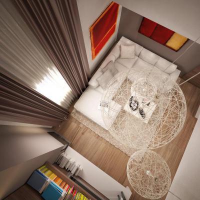 Felülnézet  - nappali ötlet, modern stílusban