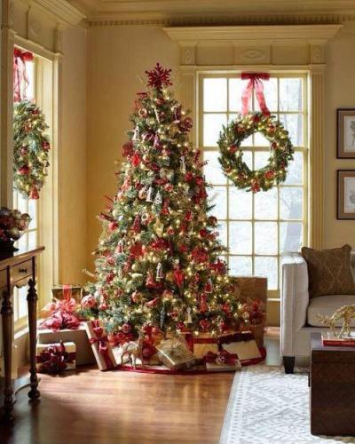 Karácsonyi dekoráció - nappali ötlet, modern stílusban