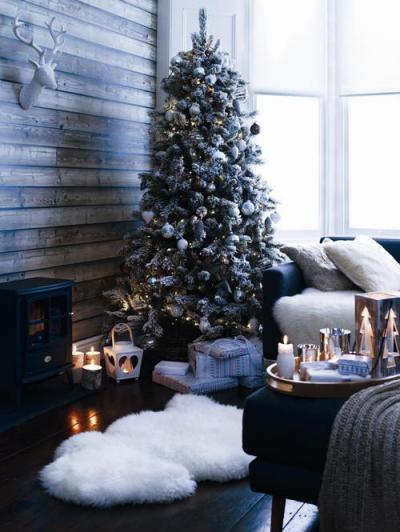 Karácsonyi dekoráció - nappali ötlet, rusztikus stílusban