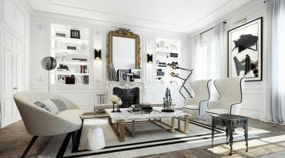 Modern és klasszikus együtt - nappali ötlet