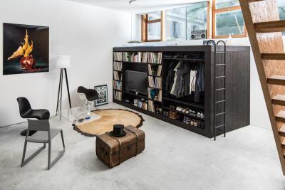 Férfias loft - nappali ötlet