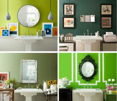 Élénk zöld fürdők  - fürdő / WC ötlet, modern stílusban
