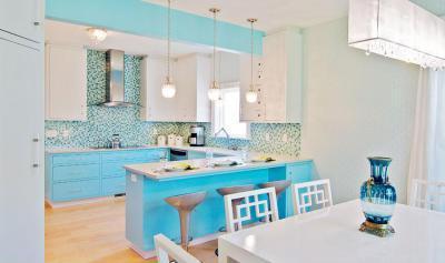 Kék konyha - konyha / étkező ötlet, modern stílusban