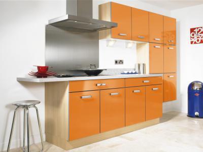 Narancssárga konyha - konyha / étkező ötlet, modern stílusban