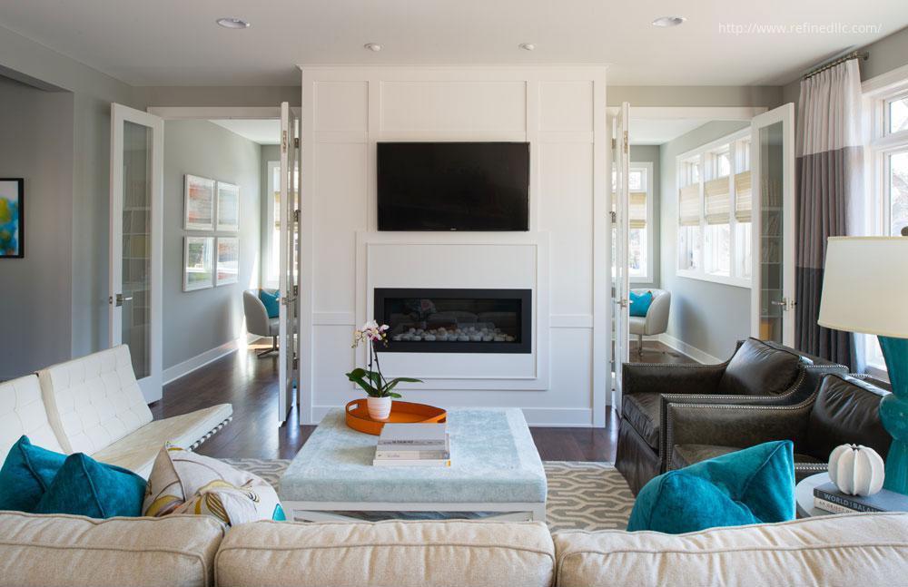 Fehér-szürke-kék nappali