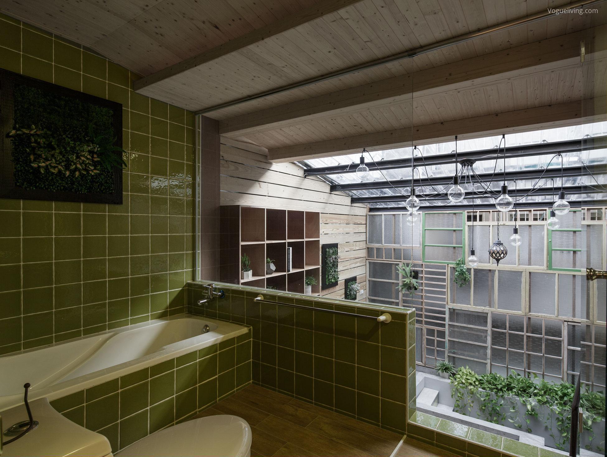 Zöld csempés fürdőszoba // HOMEINFO.hu - Inspirációtár
