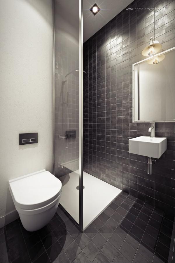 Kis fürdőszoba design feketével