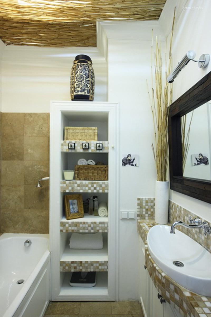 Kicsi fürdőszoba mozaikcsempével
