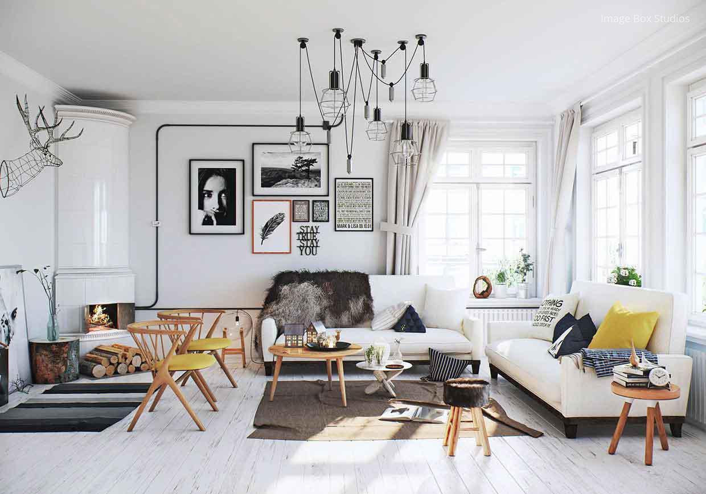 Fehér nappali design lámpával // HOMEINFO.hu - Inspirációtár