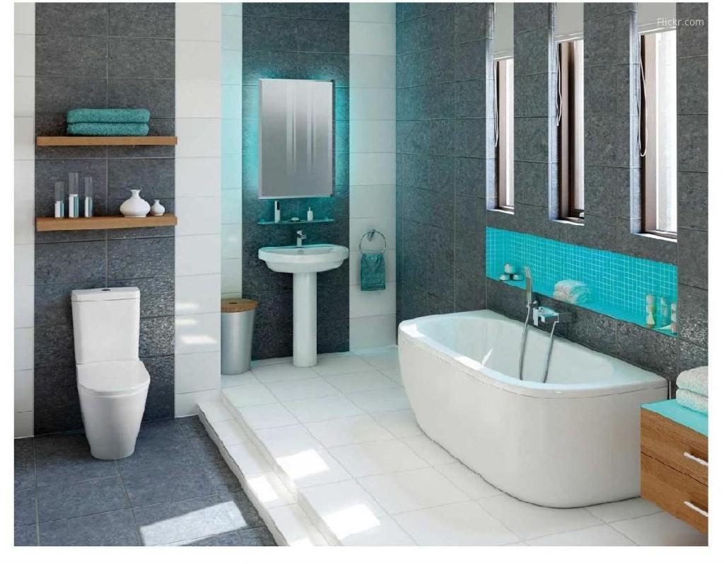 Szürke-kék fürdőszoba // HOMEINFO.hu - Inspirációtár